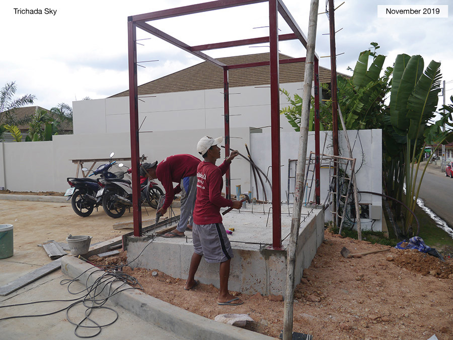 Early stage construction of a Villa featuring the car port
