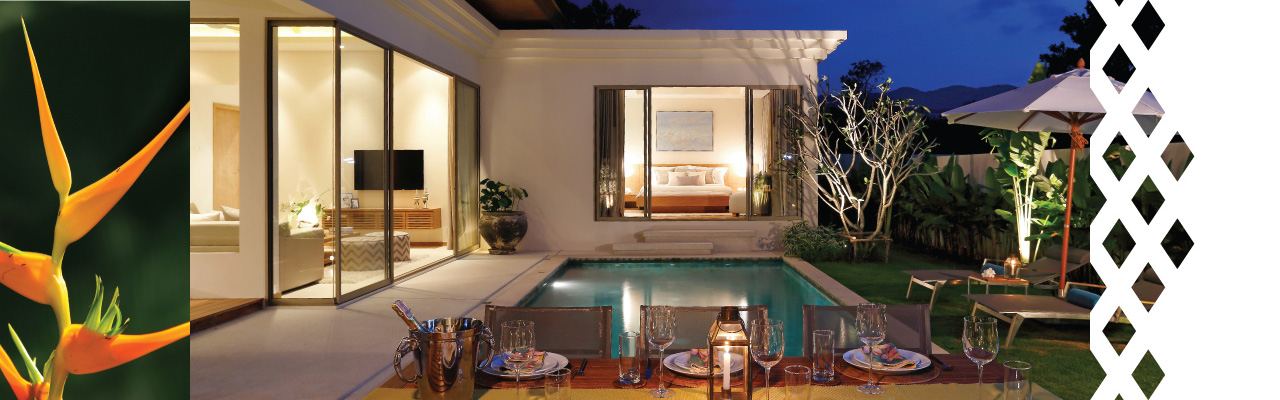 Trichad villas pool at night large