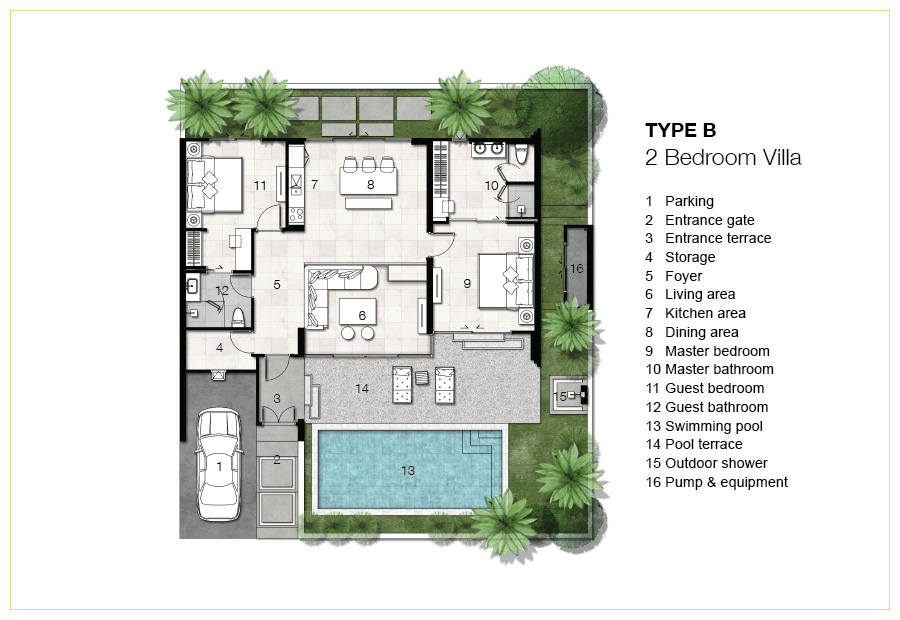 Trichada villas specifications quality master and villa for 2 bedroom villa floor plans